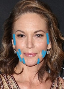 Diane Lane areas needing volume marked